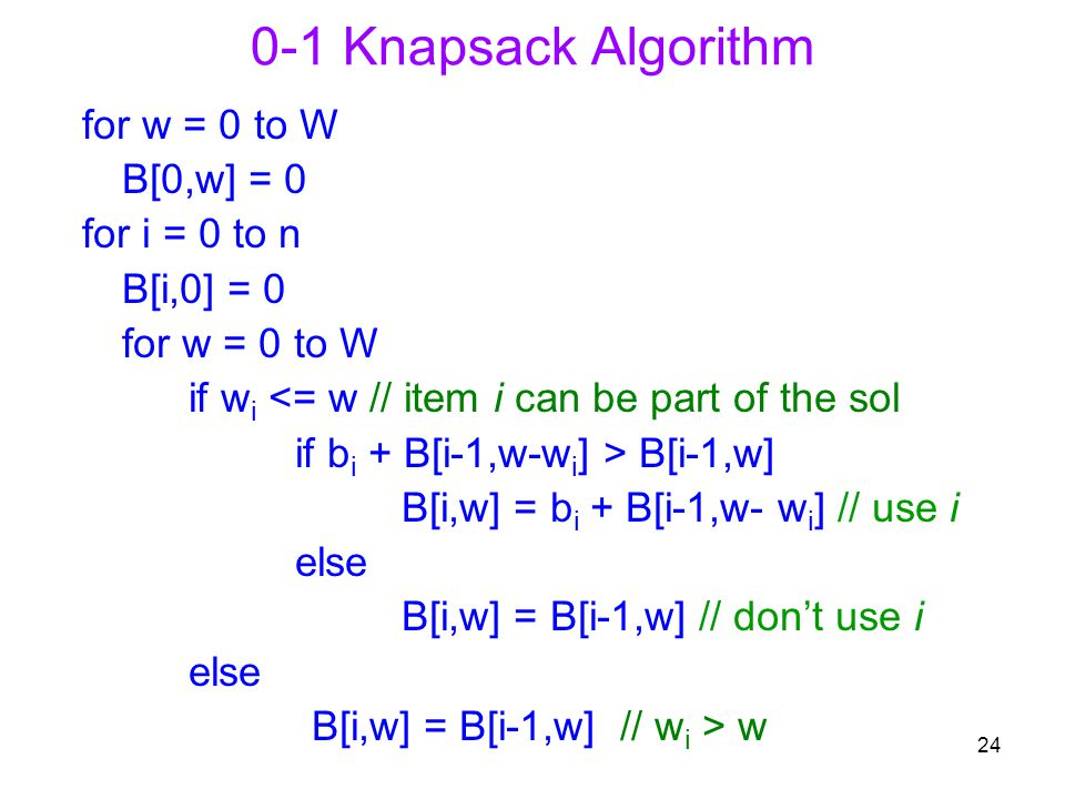 0-1 Knapsack Algorithm for w = 0 to W B[0,w] = 0 for i = 0 to n